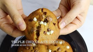 Triple Chocolate Chip Cookies Recipe Video || Bakestarters