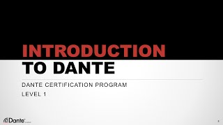 Dante Certification Level 1: #1 About Audinate - Digital Audio Basics