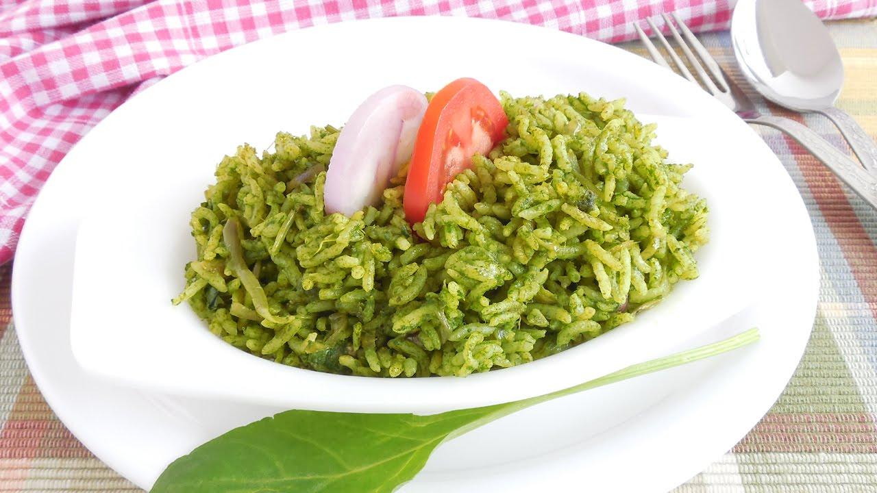 palak rice recipe | spinach rice recipe | palak pulao ...