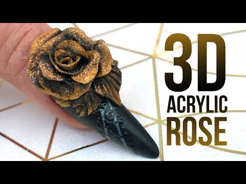 3D Acrylic Rose on a Matte Nail with Glossy Design - Step by Step Nail Tutorial