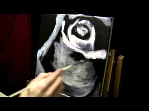 Black and white flower acrylic painting time lapse youtube for Acrylic painting on black background