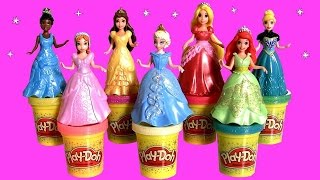Play Doh Sparkle MagiClip Fairytale Fashion Tiana Cinderella playdough Glitter Magic Clip Elsa Anna
