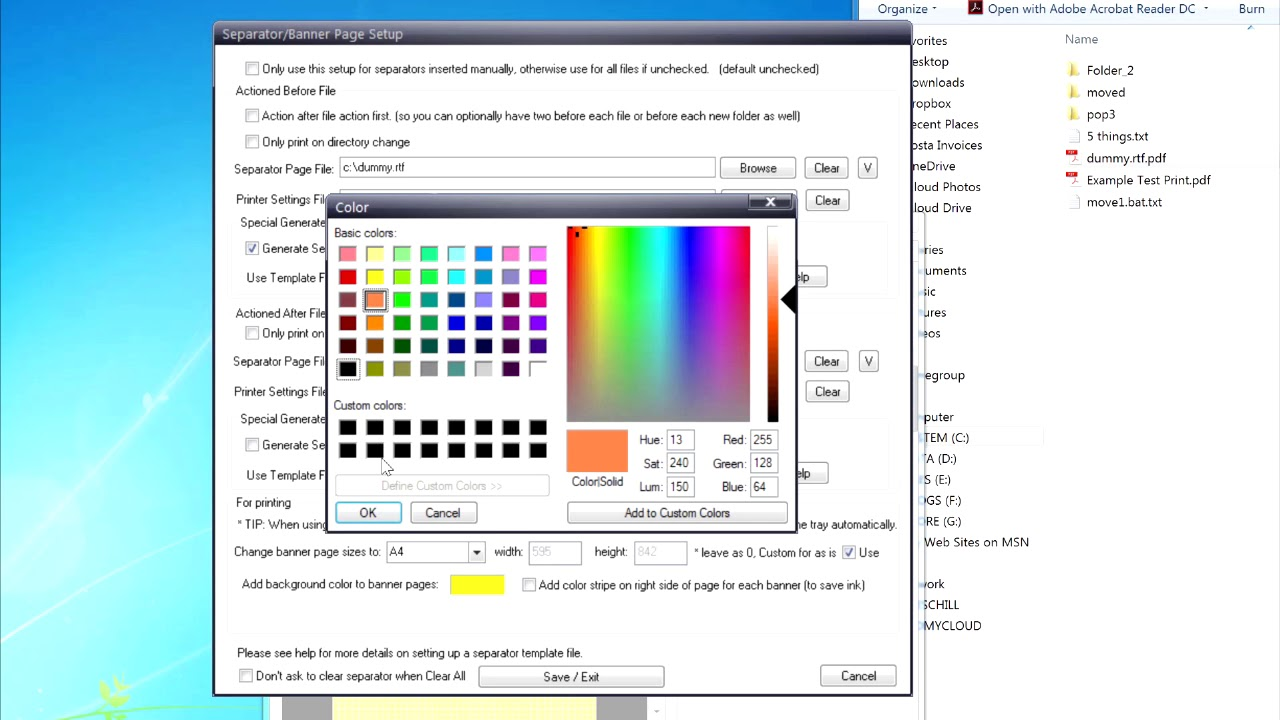 How To Use Setup The Separator Background Colour Option In Batch Print Pro