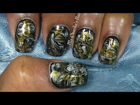 Goth Gold Grey And Black No Water Marble Nail Art Youtube