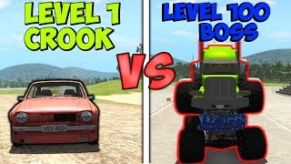 LEVEL 1 CROOK vs LEVEL 100 BOSS #2 - BeamNG Drive (crashes & stunts)
