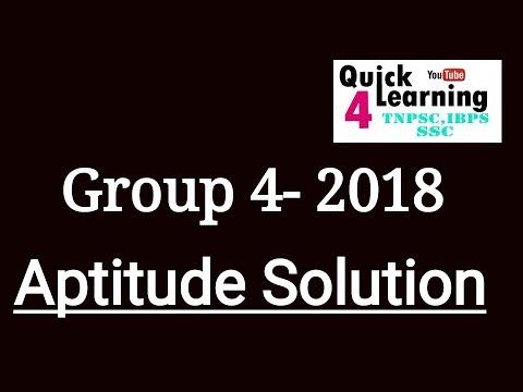 GROUP 4 - 2018 - Answer Key- Aptitude Solution in English/தமிழ்