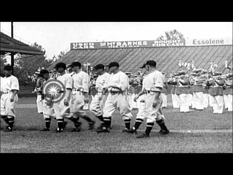 Babe Ruth presents baseball equipment to United States War Secretary George Dern ...HD Stock Footage