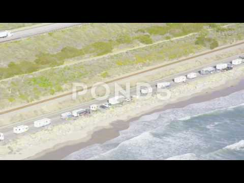 Aerial View Of Motor Homes On Californian Coast