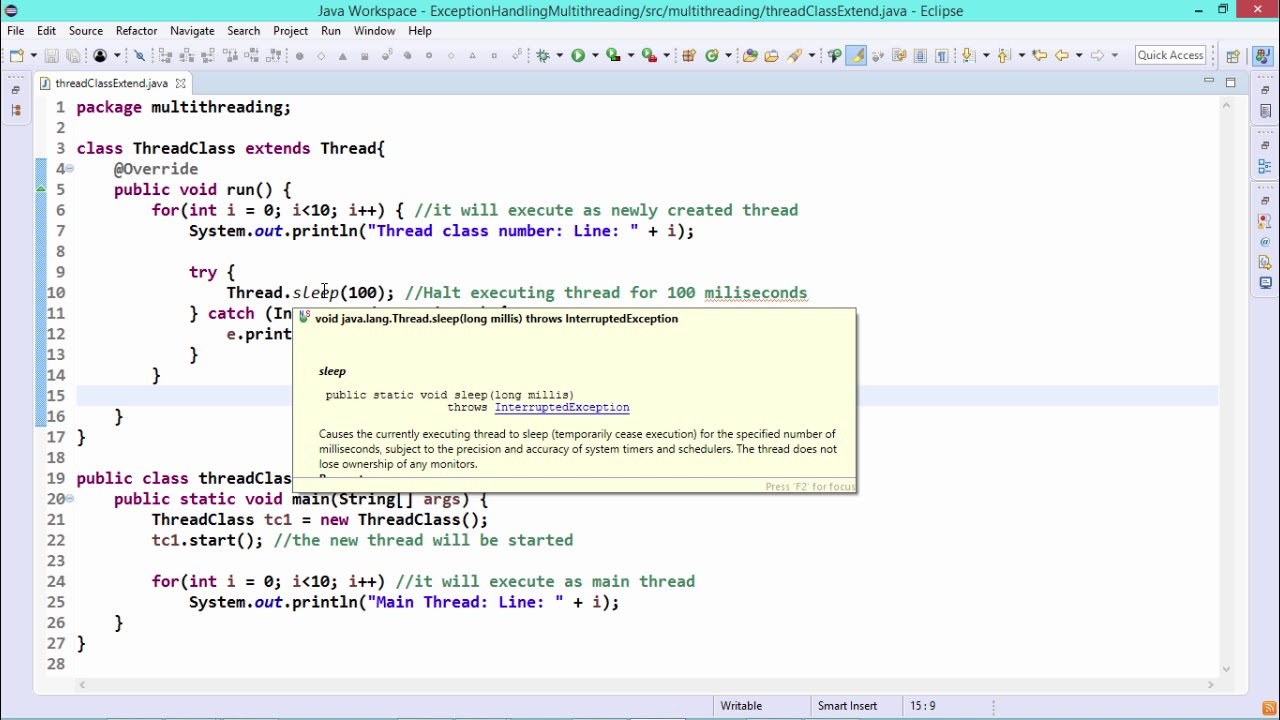 Java Essentials - Multithreading by extending thread class