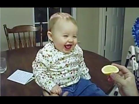 Дети едят лимон -
