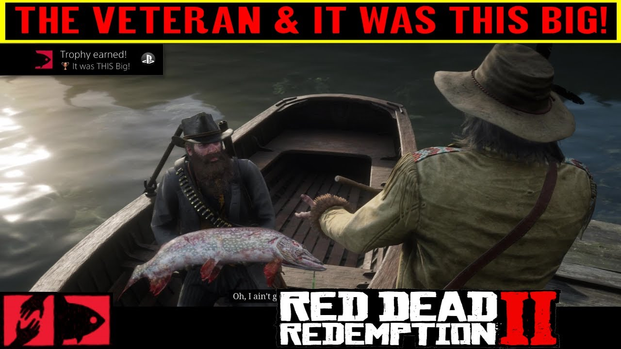 d898b955fcf85 Red Dead Redemption 2 The Veteran Stranger Mission - It was THIS Big Trophy  - Legendary Fish