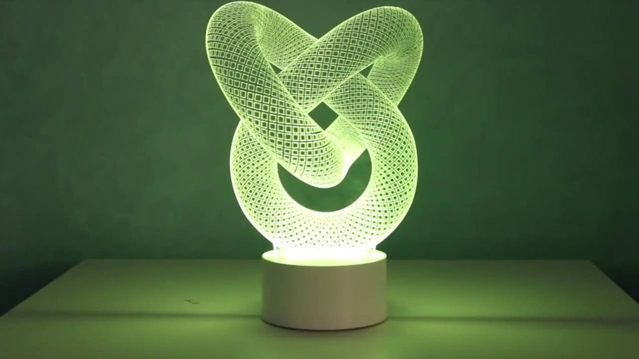 3D Optical Illusion Lamp Love Knot - YouTube