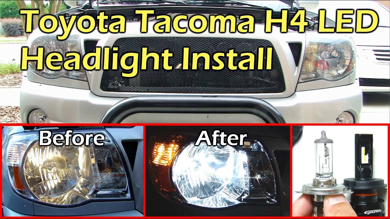 medium resolution of eyourlife h4 9003 hi lo beam led headlight install toyota tacoma