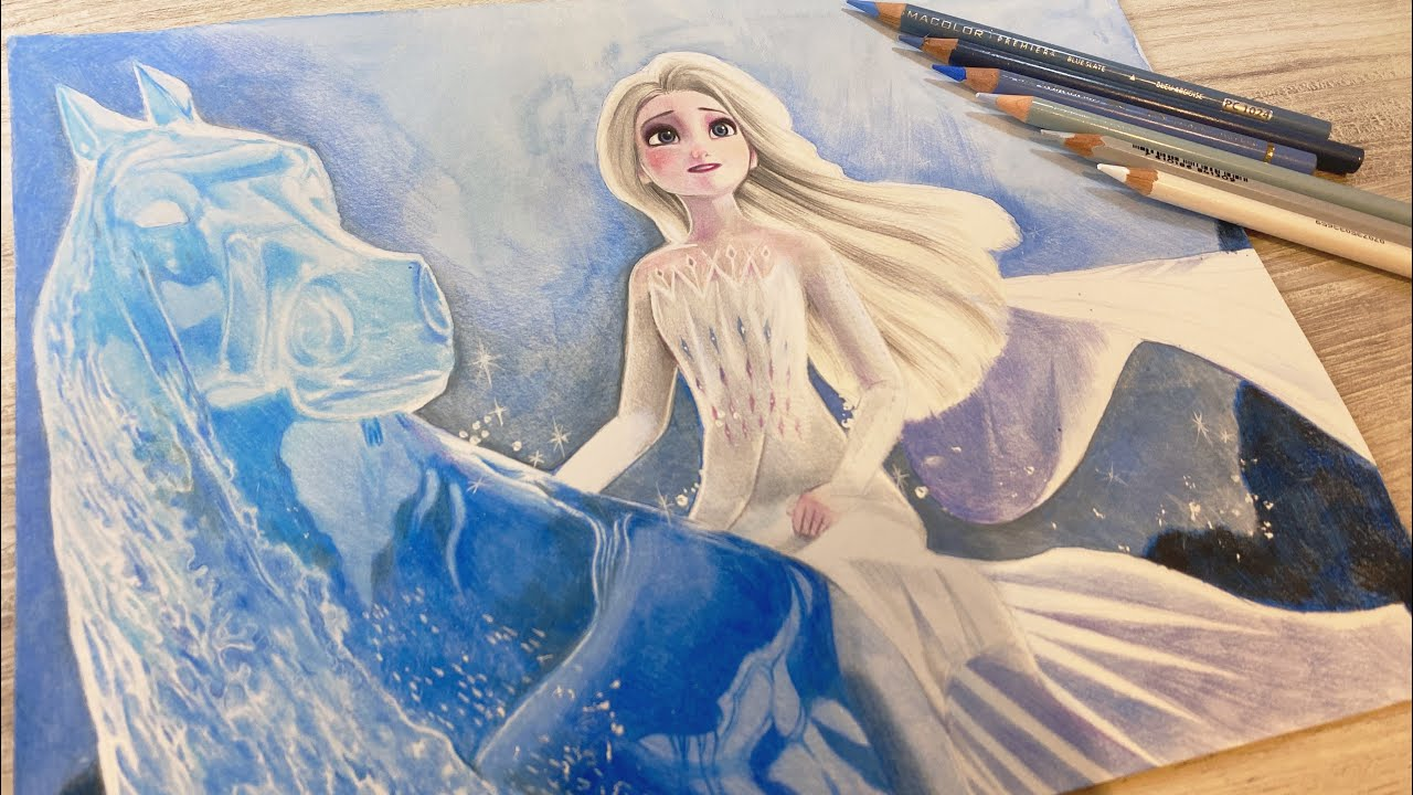 Drawing Frozen2 Elsa | 冰雪奇緣2艾莎色鉛筆繪畫 | by Tracy Tsao