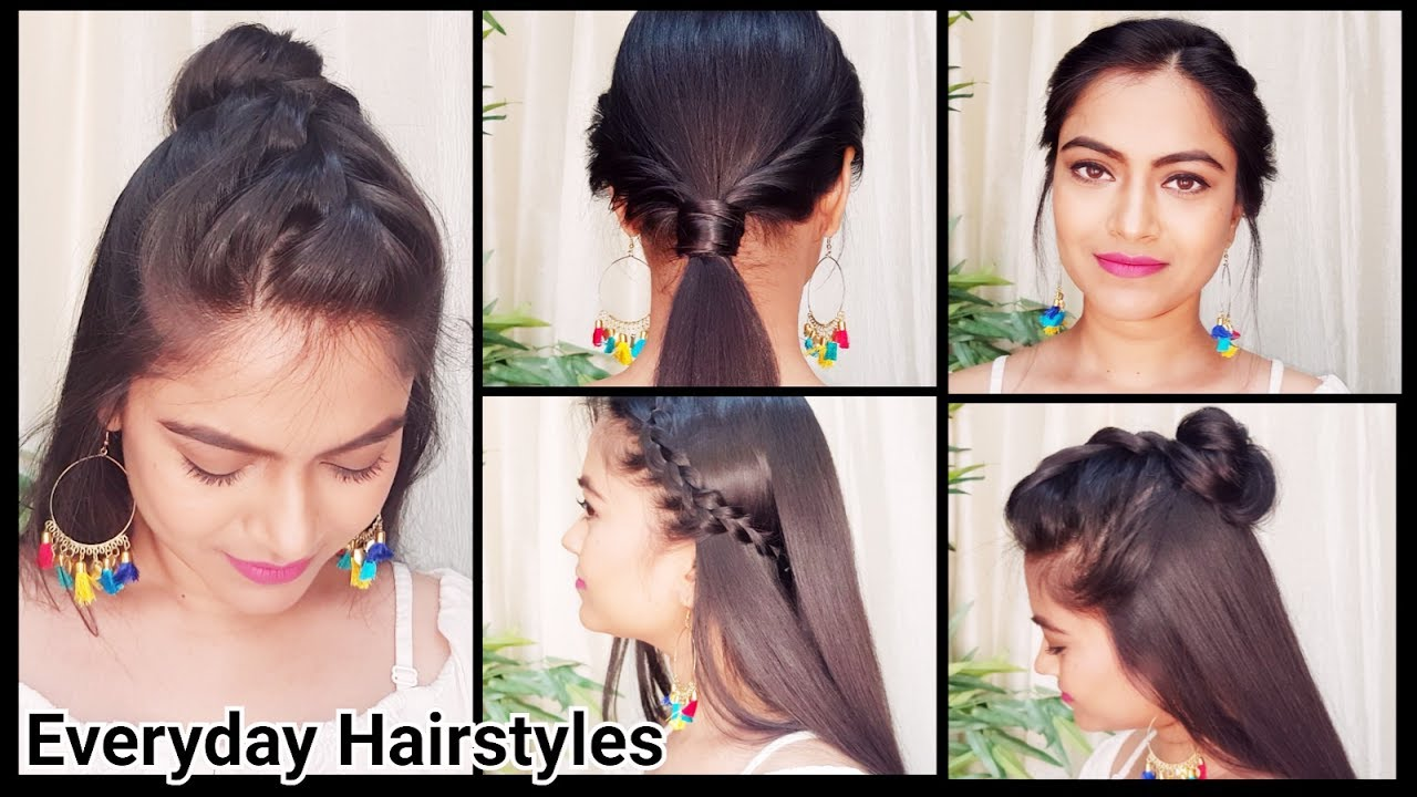 5 QUICK EASY College Hairstyles//Everyday Indian Hairstyles for long  hair//Easy hairstyles