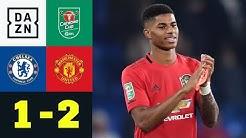 Per Zauberfreistoß! Rashford ballert United weiter: Chelsea - Man United 1:2 | Carabao Cup | DAZN