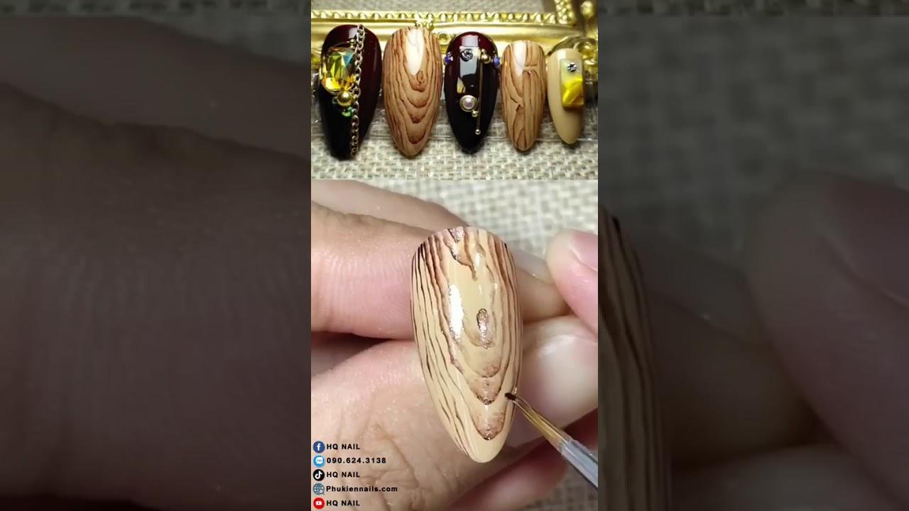 Cách vẽ móng vân gỗ cực đẹp mà đơn giản | Top Nail 2020