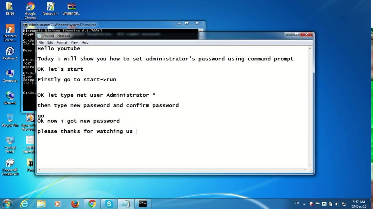 change administrator password cmd