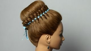 Braided hairstyle for long hair with 4 strand ribbon braid. Bun updo