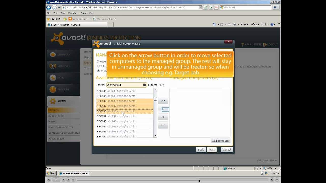avast enterprise administration console default password