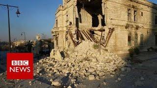 Drone shows Aleppo's deserted ancient city - BBC News