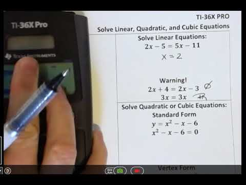 Ti 36x Pro Solve Linear Quadratic Or Cubic Equations Youtube