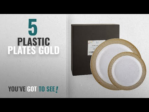 Best Plastic Plates Gold [2018]: 60 Pack Gold Plastic Plates, Disposable Wedding Plates, Elegant
