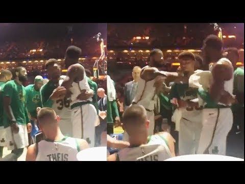 Kyrie Watches In Disbelief As Marcus Morris Shoves Jaylen Brown After Exchanging Words!