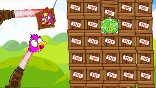 Angry Birds Cannon Birds 1 - RESCUE BIRDS WITH CANNON! SHOOT 1000 EYES PIG TO 1000 TNT