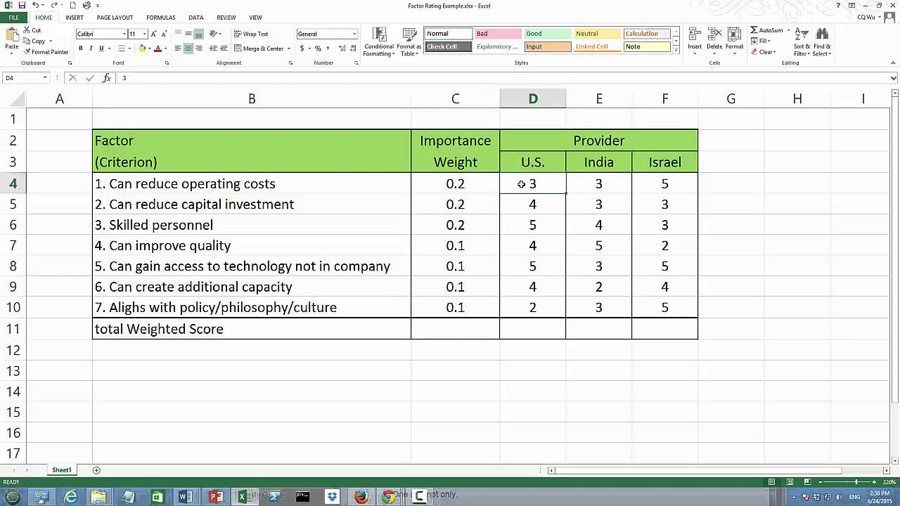 Factor Rating Matrix Supplier Selection Youtube