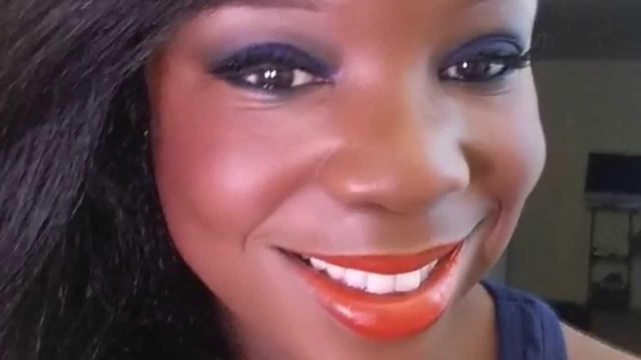Easy Intense Blue Eyeshadow Orange Lip Tutorial Laura Geller Youtube