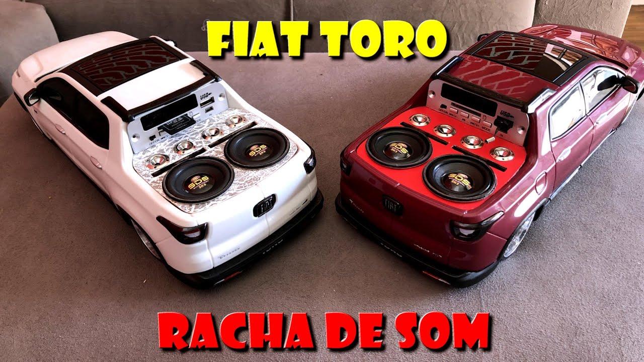 RACHA DE DUAS OBRAS DE ARTE MINI FIAT TORO COM SOM AUTOMOTIVO