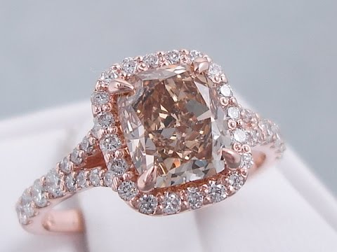 273 ctw cushion cut natural chocolate diamond engagement ring bigdiamondsusa - Chocolate Diamond Wedding Ring