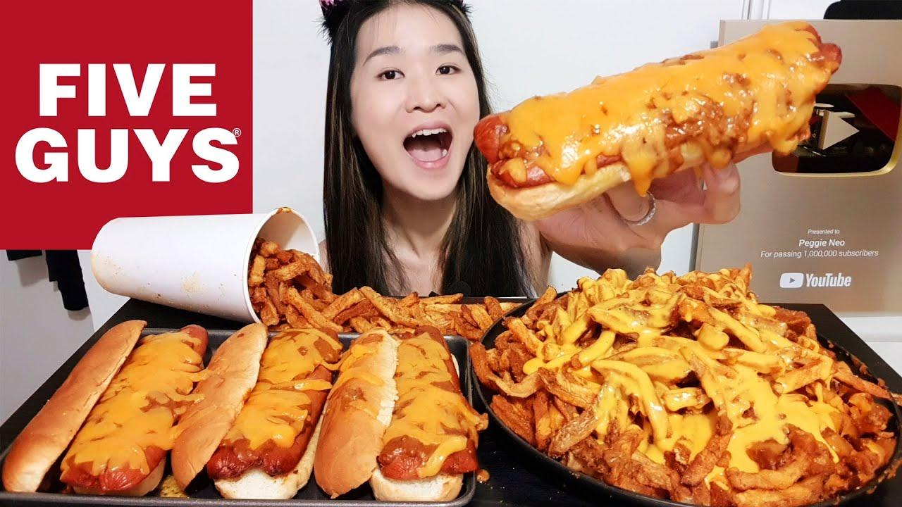 Eating FIVE GUYS HOT DOGS! Chili Cheese Hot Dogs & Cheesy Cajun Fries - Mukbang w Asmr Eating