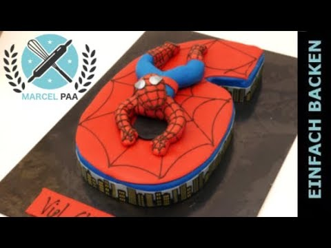 coole spiderman zahlen torte zum selber machen i einfach. Black Bedroom Furniture Sets. Home Design Ideas