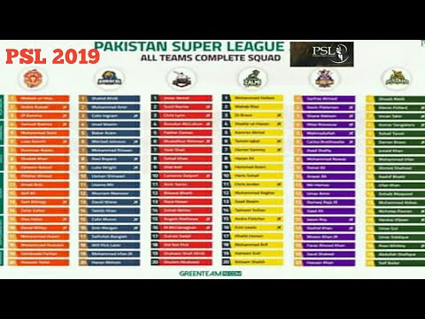 PSL 2019 All teams full squad | All teams squad in Pakistan super league 2019