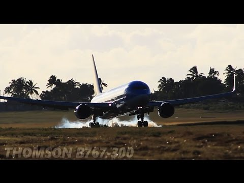 [HD] Thomson Airways B767-300 Landing at Grantley Adams International Airport!
