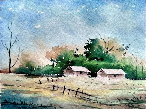 Simple Watercolor Landscape Painting for Beginners | Paint with David |