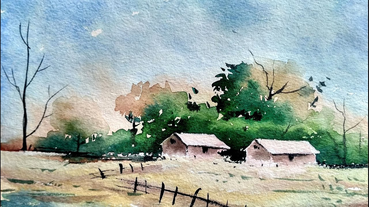Simple watercolor landscape painting for beginners paint for How to watercolor for beginners