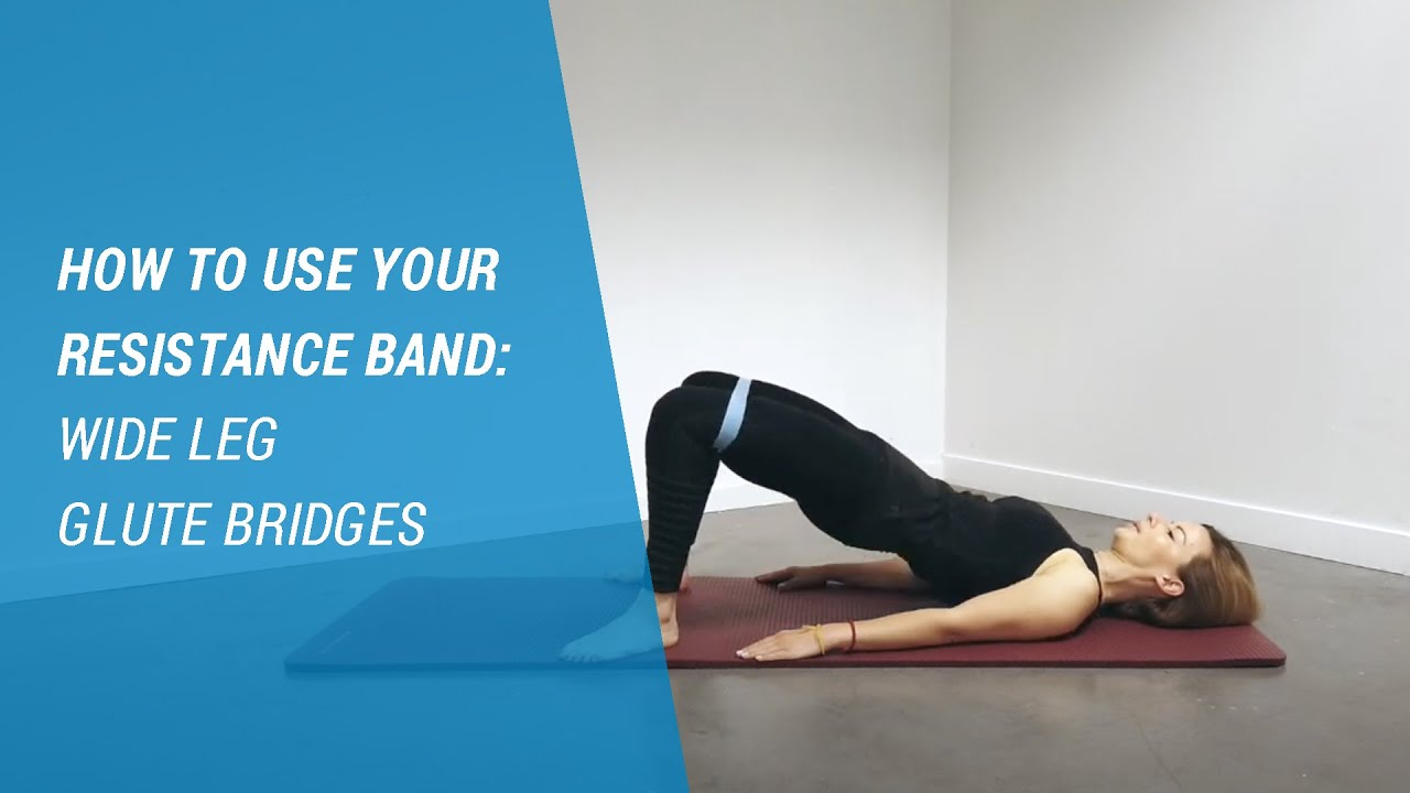 Wide Leg Glute Bridges with DOMYOS Resistance Band   Workout At Home with  Decathlon