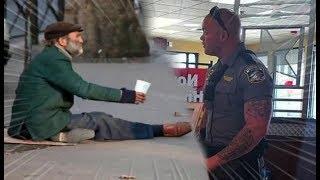 Policial é acionado para tirar mendigo de restaurante, até que faz algo muito melhor