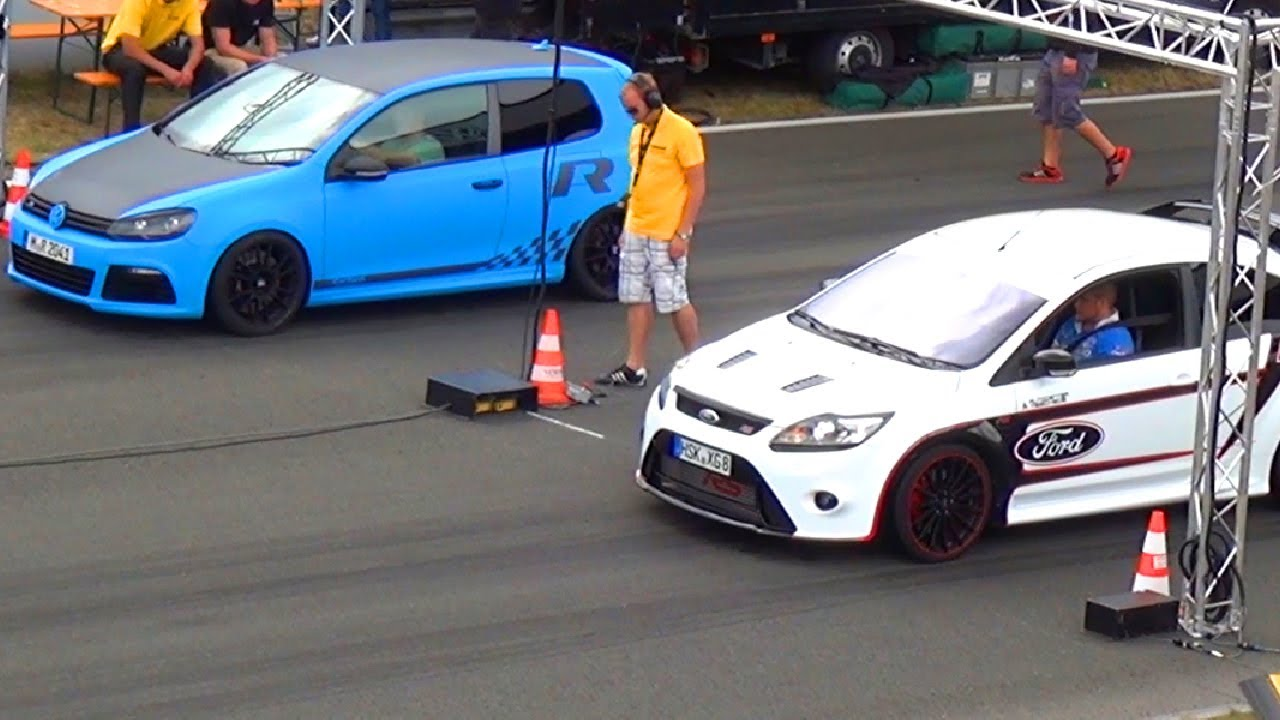 Vw Golf 6 R 32 Vs Ford Focus Rs 1 4 Mile Drag Race Viertelmeile Rennen Acceleration You