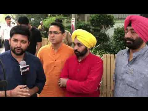AAP Punjab Leader Bhagwant Mann,Aman Arora and Sukhpal Khaira Brief Media after PAC meeting in Delhi