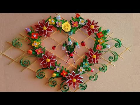 DIY Paper Quilling   Beautiful Heart-Shaped  Wall Hanging for Room Decor Ideas   Paper Quilling Art