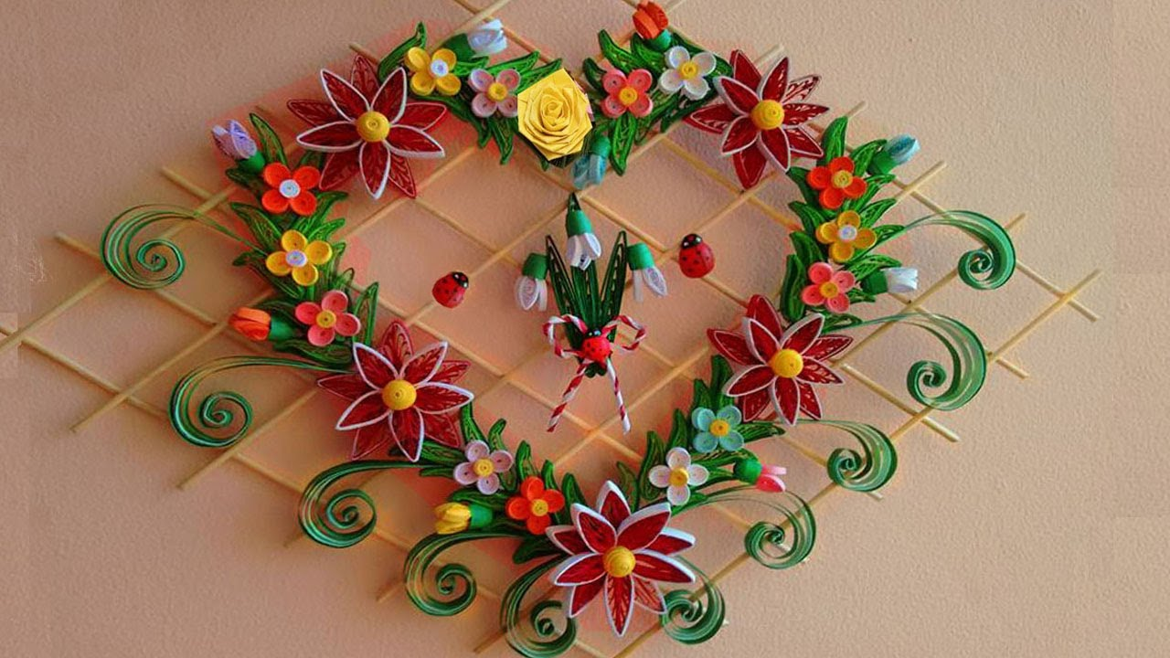 Wall Hanging Ideas diy paper quilling | beautiful heart-shaped wall hanging for room