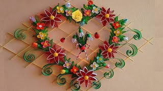 DIY Paper Quilling | Beautiful Heart-Shaped  Wall Hanging for Room Decor Ideas | Paper Quilling Art