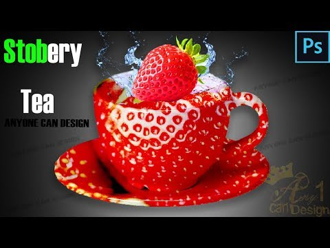 strawberry manipulation   photoshop tutorial   Advertising Poster Design straweberry tea thumbnail