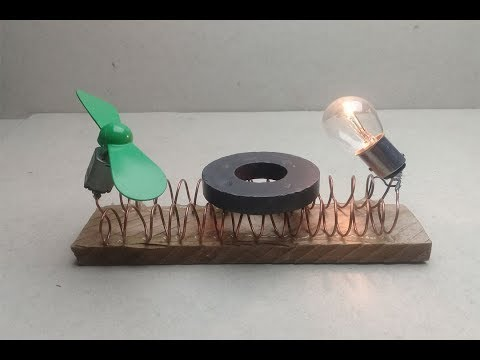 free energy generator using magnet with fan dc motor and light bulb 12v  very easy at home thumbnail
