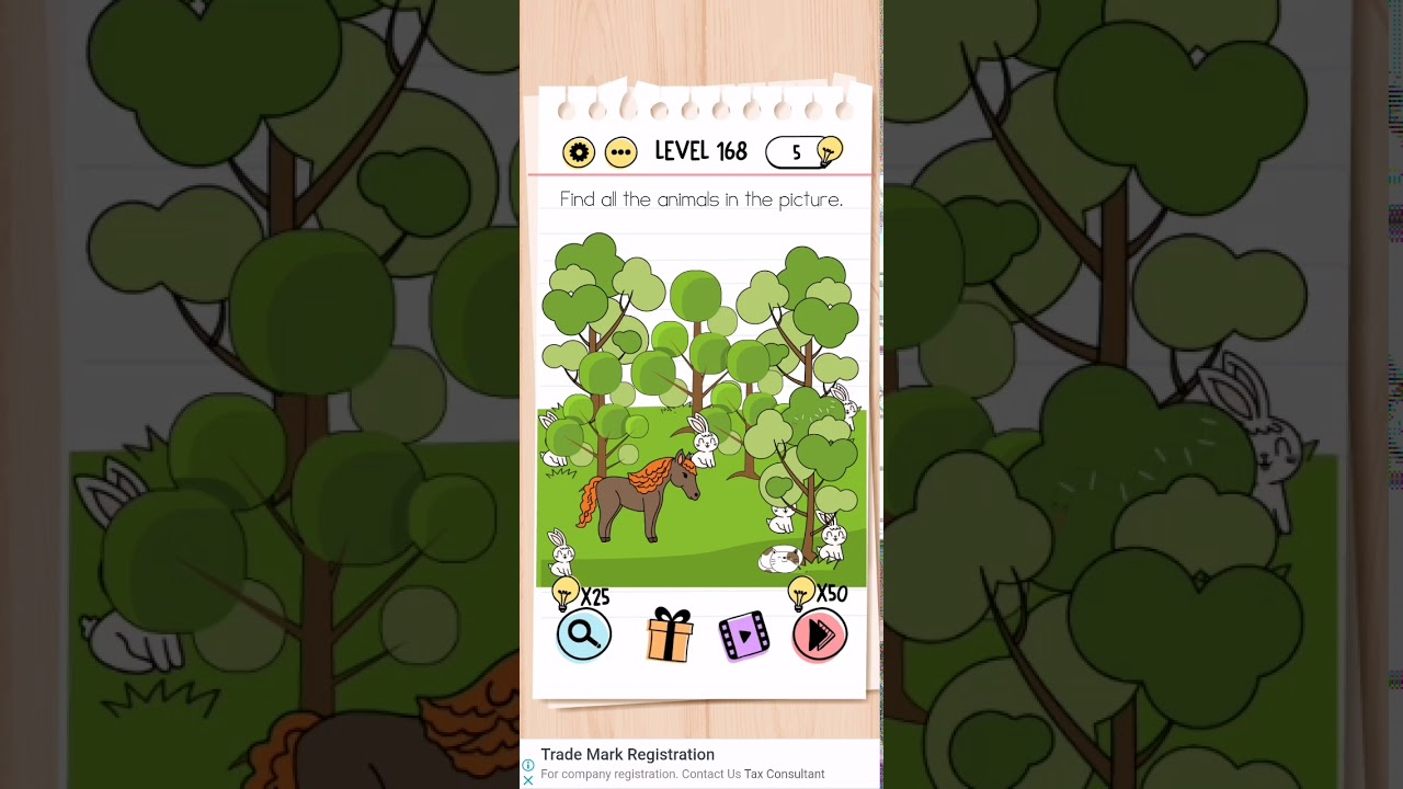 Brain Test Level 168 find all animals in picture Walkthrough
