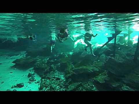 Swimming in Cenotes Dos Ojos, Playa Del Carmen, Quintana Roo, Mexico